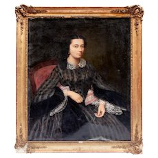 Fine Oil Painting of a French Woman- Mid 19th Century