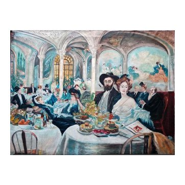 Magnificent Vintage Panoramic Oil Painting depicting Impressionist master 'Toulouse-Lautrec' with others in a Restaurant