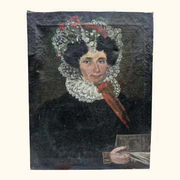 Early 19th Century Oil Painting from France of a Woman with Lace Head Dress