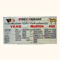 Amusing French Butcher's Shop Price Sign from 1960's