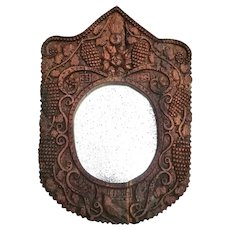 19th Century 'Folk Art' Mirror from France in Hand Carved Frame