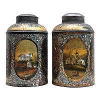 Superb Pair of Victorian Shop Tea Canisters from England.