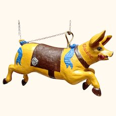 Rare French Carousel Piglet with Maker's Plaque.