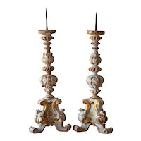Pair of 18th Century Carved Wood Candlesticks from a Church Altar in Genoa,  Italy/