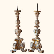 Pair of 18th Century Carved Wood Candlesticks from a Church Altar in Umbria,  Italy/