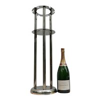 Vintage Chrome Metal 'Magnum' Wine Stand from a Restaurant in France