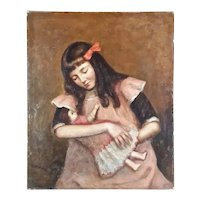 Late 19th Century Oil Painting from France of a Young Girl Cradling Her Doll