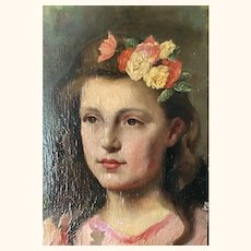 Small 19thC. Oil Painting of a Young French Girl (Remounted)