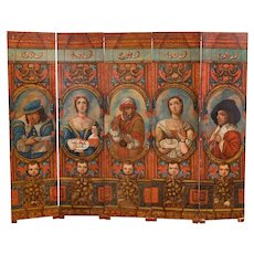 Early 19th Century Sicilian Oil Painted Folding Screen with Theatrical or Folk Art Characters