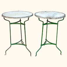 Pair of Vintage Painted Iron  Bistro Tables with Marble Tops. from Barcelona,