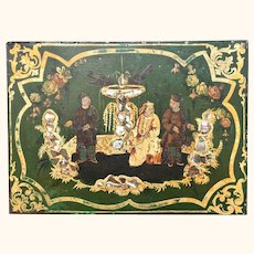 Victorian Grocer's Shop 'Toleware' Tea Box with Chinoiserie Figures and Mother-of-Pearl Inlay