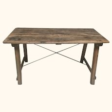 19th C. Small Cherrywood Refectory Table from Catalonia, Eastern Spain.