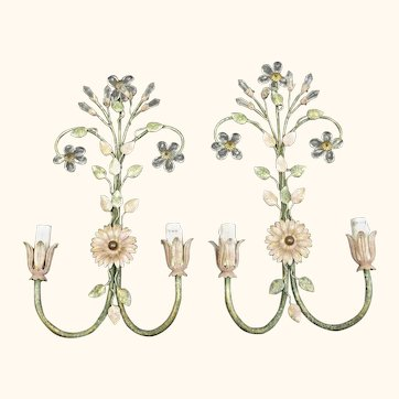 Pair of Vintage Sunflower Wall Lights by Banci Firenze.