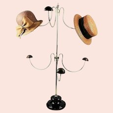 Milliner's Counter Top Brass and Porcelain Hat Stand.