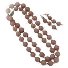 Circa 1970s Rose Colored Peking Glass Necklace