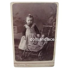 Charming Antique Photo Cabinet Card  Girl with China Doll in  Buggy