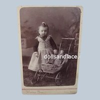 Charming Sepia Antique Photo Cabinet Card Menkee Bros. Young Girl with China Doll in Doll Carriage Buggy