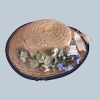 Charming Straw Hat for Antique Doll