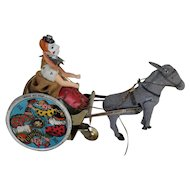 "Lehmann Litho Tin Wind Up Toy Clown and ""Balky Mule"""
