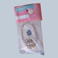 Sweet Vintage Faux Pearl Necklace with Matching Earrings in Original Packaging Made in Japan
