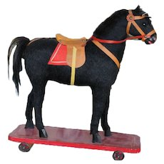 Free Domestic Shipping Wonderful Turn of The Century Pull Push Horse on Original Wooden Platform Excellent Vintage Toy for Doll or Bear