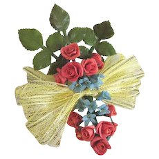 Vintage Spray of Red and Blue Flowers