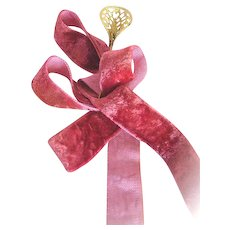 Outstanding Vintage Silky Soft Velvet Ribbon in a Rich Medium Rose Color