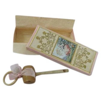 Charming Antique Baby Rattle Whistle All Original in Original Pin Box with Enchanting Colorful Lid