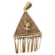 Fantastic African 18 Karat Yellow Gold Pendant Purchased in Nairobi Kenya 1975 Filigree Work