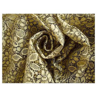 Lovely Wide Vintage European Lace Fabric 4 Yards