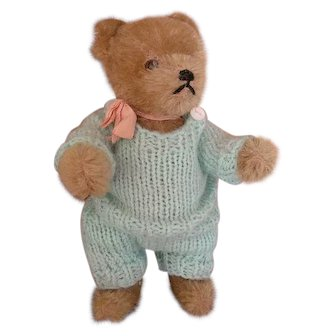 Sweet Vintage Mohair Bear in Small Size with Vintage Hand Knitted Costume
