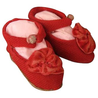 Wonderful Antique Red Elaborate Shoes Marked Jumeau for Doll