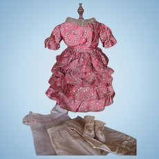 Lovely Silk Dress for Antique Doll Antique Underclothes Socks and Shoes