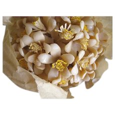 Charming Original Bunch of Wax Flowers in Original Tissue with Tag Reading Paris Circa 1920s