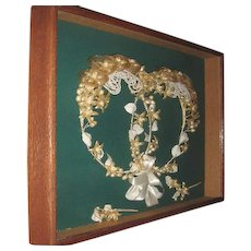 Lovely Early 1900s Twin Wedding Tiaras and Boutonnieres All Original Framed in Oak Frame for Keepsake