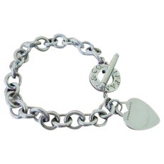 Tiffany Sterling Silver Toggle Bracelet with Heart Charm Original Turquoise Bag and Box