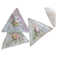 Vintage European Organdy Appliques with Embroidered Flowers Old Stock