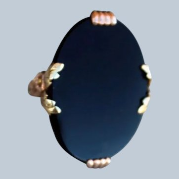 Striking and Impressive Large Glossy Black Onyx Ring