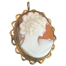 Lovely Antique Shell Carved Cameo Set in Elaborate Marked 12K Gold Filled Pendant Brooch