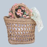 Fabulous Antique Straw Basket for Doll or Bear Vintage Forget Me Not Flowers and Lace Embellished Silk Handkerchief