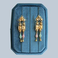 Late 1960s Handmade Gold Dangle Earrings with Orchid and Turquoise Enamel Decorations All Original from Kampala, Uganda Original Family