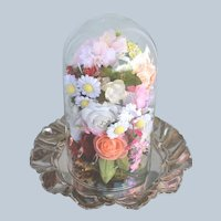 Beautiful Silver Plated Lettuce Leaf Scalloped Edge with Glass Dome Filled with Flowers