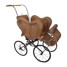 Antique Victorian Wicker Baby Buggy Carriage Reasonable Offers Considered