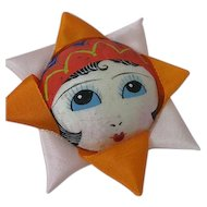 1920s French  Pin Cushion Hand Painted Silk Face