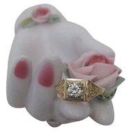 Gorgeous Art Deco Gold Ring Set with Stunning Brilliant Diamond