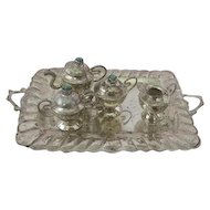 Antique Genuine Sterling Silver Tea Set Service for Antique Doll French Fashion
