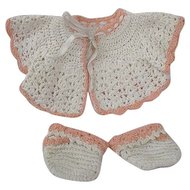 Sweet Antique Handmade Cardigan with Matching Booties for Doll or Teddy