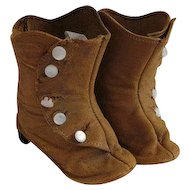 Antique High Button Leather Boots for Antique Doll or French Fashion
