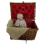 Heubach Baby 7744 Germany Original Clothes Presented in Silk  Lined Presentation Basket