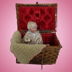 Heubach Baby 7744 Germany Original Clothes Presented in Silk  Lined Presentation Basket